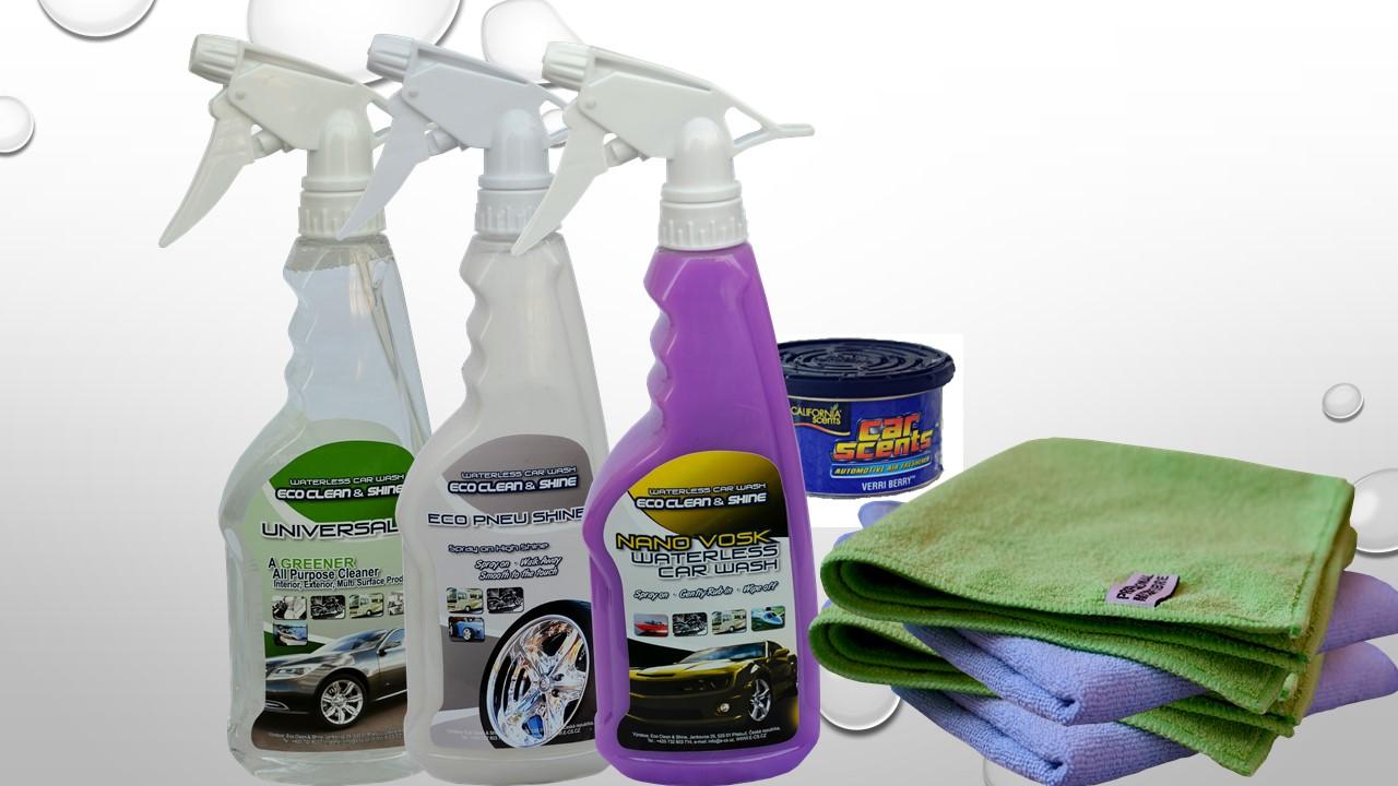 Jarní balík autokosmetiky (Nano Vosk, oživovač na pneu a palubku, univerzální čistič, 4 mikro utěrky a vůně dle výběru)