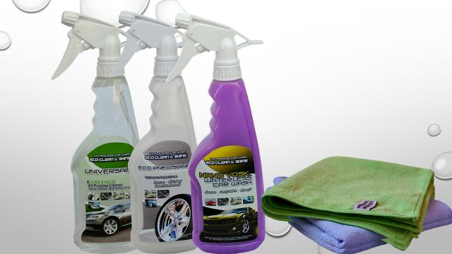 Dárková sada autokosmetiky- 3 láhve (Nano vosk, silný čistič, oživovač na pneu a plasty, 3x mikro utěrky)
