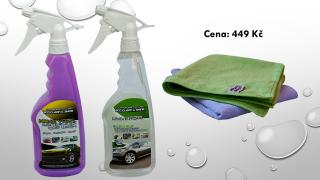Dárková sada motokosmetiky (Nano vosk, univerzální čisitč, 2x mikro utěrky a vůně dle výběru)